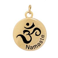 Charm to Add to Expandable Bangle Bracelet Namaste OM Gold Plate