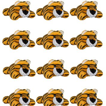 "12 Pack Tiger Mini 4"" Small Stuffed Animals, Bulk Bundle Zoo Animal Toys, Jungle Safari Party Favors for Kids"