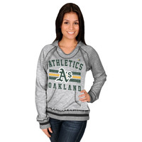 Majestic Oakland Athletics Women's All-Time Slugger Pullover Hoodie - Steel