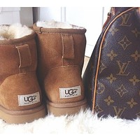 UGG Short boots antiskid warm lazy sheep fur ugg boots Chestnut I