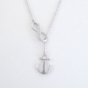 Sideways, Cubic, Infinity, Anchor, Gold, Silver, Necklace, Modern, Nautical, Marine, Anchor, Love, Necklace, Friends, Mom, Gift, Jewelry