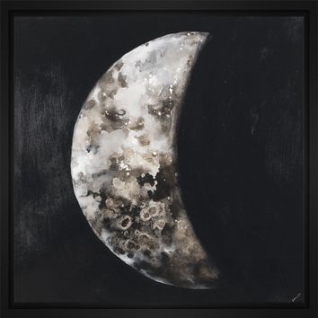 New Moon I 28L X 28H Floater Framed Art Giclee Wrapped Canvas