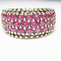 Vintage Ruby Ring 925 Sterling Size 8