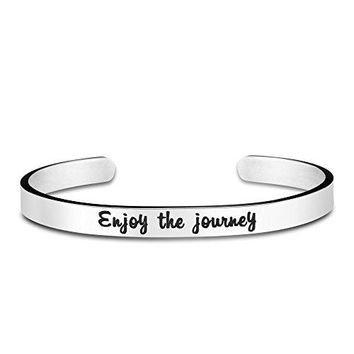 Yiyang Inspirational Bracelets Engraved Bangle Motivational Gifts for Women Mantra Quotes