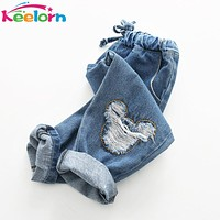 Keelorn Boys Jeans 2017 Spring girls Jeans Kids Pants Cartoon Pettern Design Children's Denim Trousers Kids Dark Blue Pants
