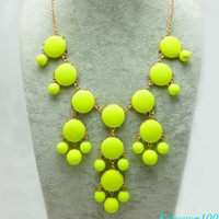 cute yellow fluorescent  resin necklace, handmade bib Necklace/glitter Statement Bubble choker,bridesmaid gifts,unique Beaded  Jewelry