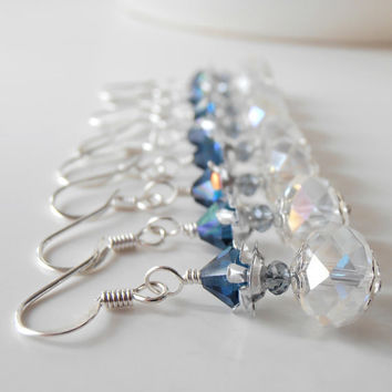 Beaded Earrings Bridesmaid Jewelry Crystal Dangles Navy Blue and Silver Wedding Jewelry Faceted Bead Drops Bridesmaid Earrings