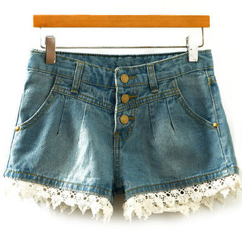 Contrast Lace Embroidered Denim Shorts