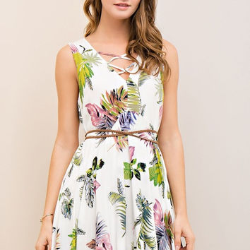 Tropical Print Pocket Dress