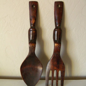 Carved Wooden Fork and Spoon Vintage Wall by TheTravelingOwlShop
