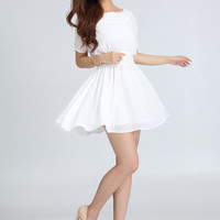 White Short-Sleeve A-Line Dress