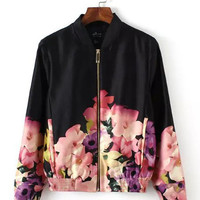 Black Flower Print Stand Collar Long Sleeve Jacket