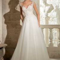 Blu by Mori Lee 5317 Lace and Tulle Wedding Dress
