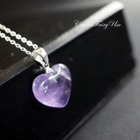 Amethyst Heart Necklace - Sterling Silver  Amethyst Necklace -  Stone Heart Pendant - February Birthstone - Crown Chakra Crystal Healing