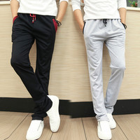 Slim Fit Contrast Lining Drawstring Pants