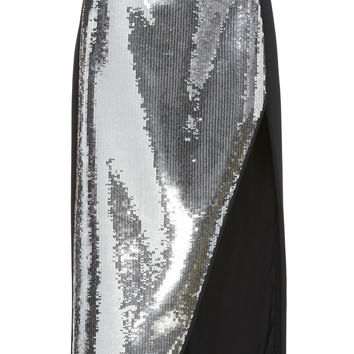 Sequin Front Panel Midi Skirt | Moda Operandi