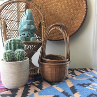 Nesting Wicker Baskets with Handles,  Boho Rattan Plant Basket Collection, Set of 3 Wicker Planter Baskets