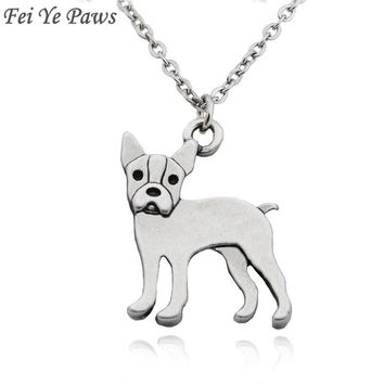 Fei Ye Paws Lovely Boston Terrier Dog Charms Pendant Choker NecKlace For Women Men Jewelry Stainless Steel Long Chain Necklace