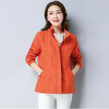 2018 new spring autumn short paragraph slim large size women's windbreaker jacket hooded jacket mother dress was thin loose