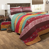 Royal Empire Red Striped Boho 3 PC Quilt Bedding SET