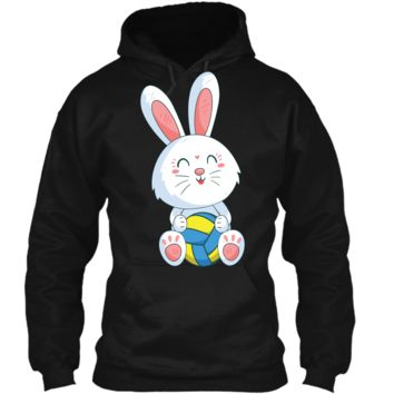 Easter Bunny Volleyball Ball T-shirt Easter Day For Kids Pullover Hoodie 8 oz