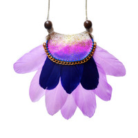 Purple Feather Statement Necklace, Crescent Rope Necklace in Radiant Orchid Glitter Ombre | Boo and Boo Factory - Handmade Leather Jewelry