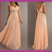 long prom dress, evening gown prom dress, peach prom dress, formal prom dress, chiffon prom dress, 1311