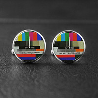 TV Time Cufflink,Television Cufflinks,  Silver Men Cufflinks, Father's Day Cufflinks,Lovers Cuff Links,Teachers Cufflinks