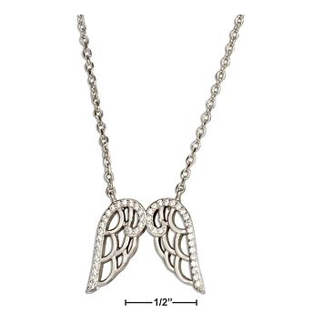 """Sterling Silver Necklace:  16""""-17"""" Adjustable Micro Pave Cubic Zirconia Angel Wings Necklace"""