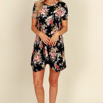 All Day Bouquet Floral Dress Black