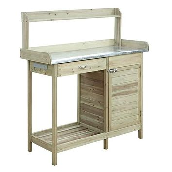 Natural Fir Wood Potting Bench with Stainless Steel Table Top