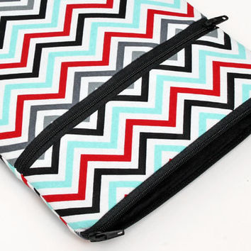 iPad mini sleeve, zipper iPad mini pouch, apple ipad mini retina cover with front pocket - blue red grey white black chevron