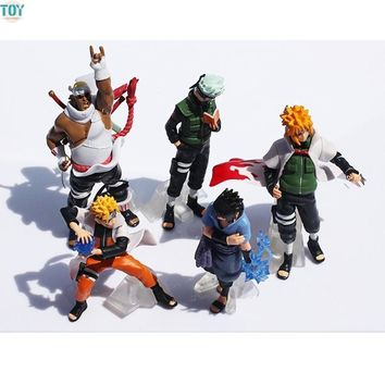 Naruto Sasauke ninja New One Piece  Shippuden Sasuke Uzumaki Kakashi Doll Anime Kids Toys Gift Collection Action Figure Cake Toppers 5 Pieces AT_81_8