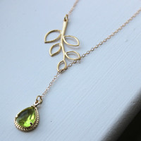 Peridot Apple Green Lariat Necklace Lariet Leaf Gold Teardrop Bridal Necklace - Bridesmaid Lariat Necklace - Bridesmaid Jewelry Wedding