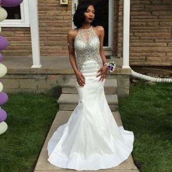 Mermaid Prom Dresses 2016 Halter Beaded with Rhinestones Backless Formal Evening Party Gowns Heavy Beaded White Graduation Gowns