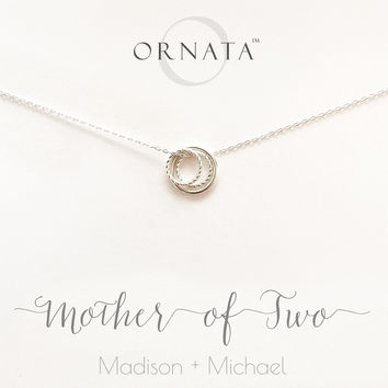 """Mother of Two"" Personalized Sterling Silver Necklace 