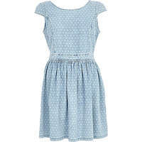 River Island Womens Light wash denim polka dot dress
