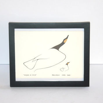Vintage Benjamin Chee Chee Framed Print, Mother and Child, Birds, 1970, Native American, Canadian, Antique Alchemy