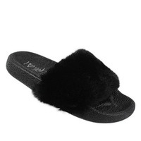 SCARLET MINI | Furry Slide Sandals - Black