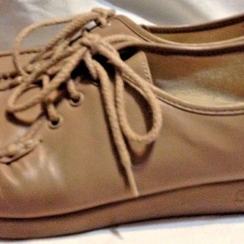 SAS Siesta Leather Moc Toe Lace Up Oxford Comfort Loafer Shoe Womens 8.5 M Tan