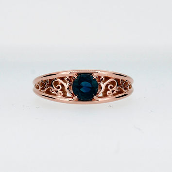 London blue topaz filigree ring, rose gold engagement ring, teal engagement, solitaire, topaz wedding, yellow gold, vintage, topaz teal