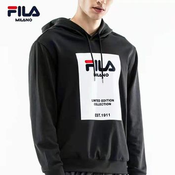 FILA 2018 winter new sports casual long-sleeved hooded pullover sweater Black