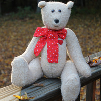 Teddy Bear With Red Bow and Heart - Jointed Teddy Bear - Light Tan