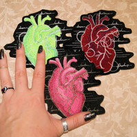 Anatomical Heart Iron On Embroidery Patch MTCoffinz - Choose Size/Color