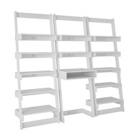 3 Piece Carpina Home Floating Ladder Shelf Office Desk in White