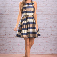 You're At The Stripe Party Dress, Navy-Gold