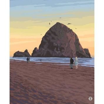 Cannon Beach, Oregon, Haystack Rock View Art Print by Lantern Press at Art.com