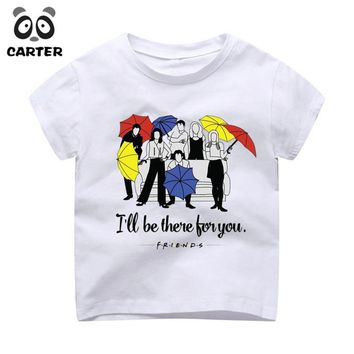 Kid's Friends Tv Cartoon Cute Design Shirt Boy and Girl Harajuku How You Doin Tshirt Summer Baby Hipster Top Children Clothes