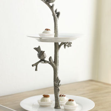 Vagabond House Bird Two-Tier Dessert Stand