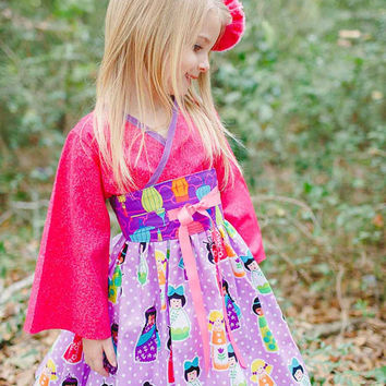 Kimono Inspired Girls Dress, Kokeshi Doll Fabric Print, Toddler Dress, Little Girl Dresses, Birthday Dress